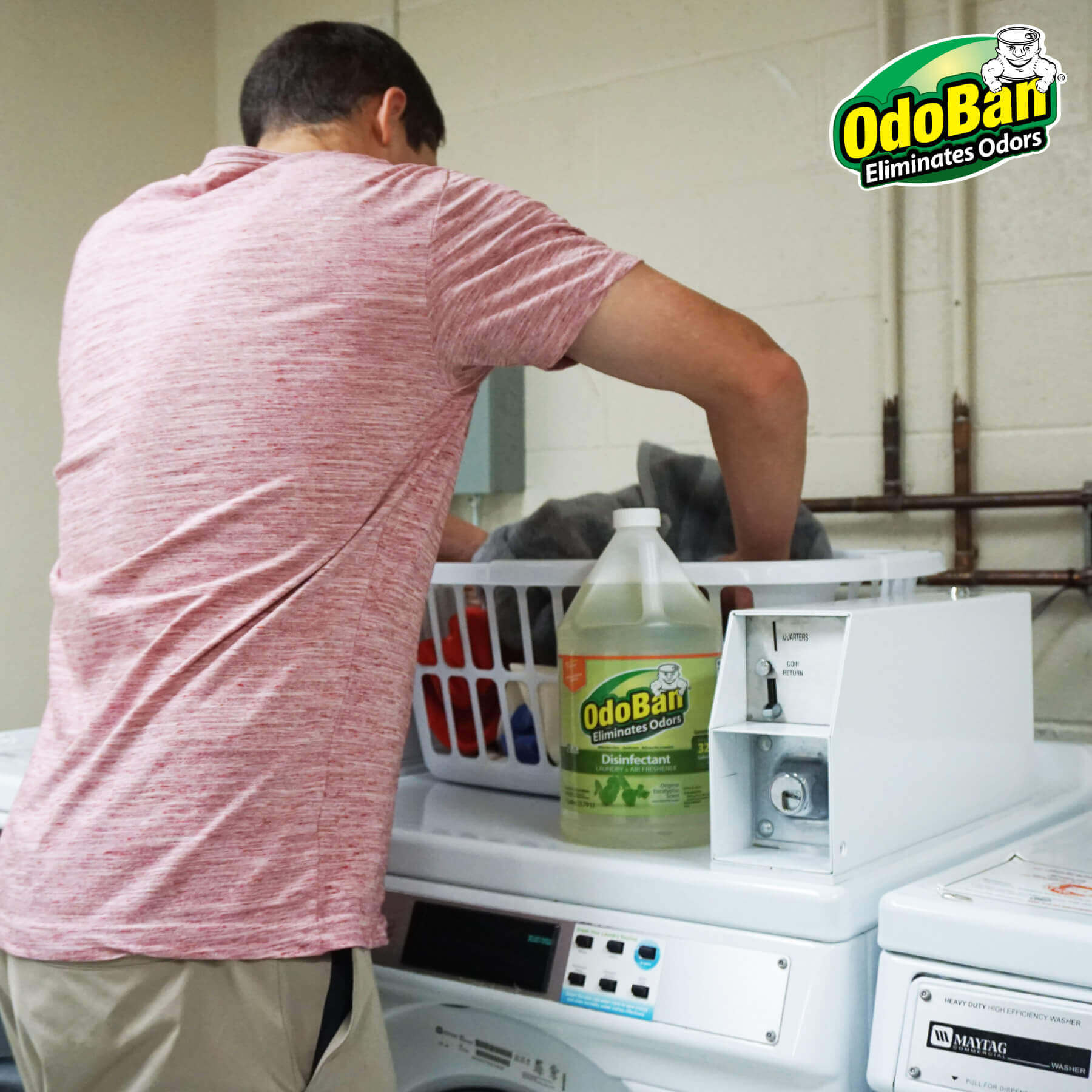 Man doing laundry with OdoBan Concentrate.